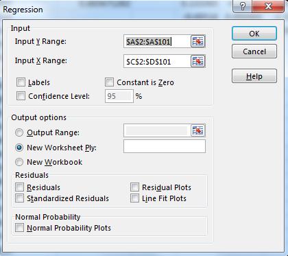 تنظیمات Data Analysis برای محاسبه رگرسیون